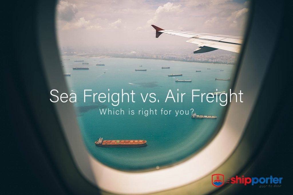 Air Freight vs. Sea Freight - Looking down on sea freighters from an airplane - Shipporter